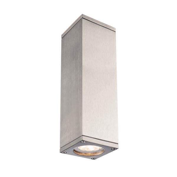 zweiflammige Wandleuchte aluminium vorne