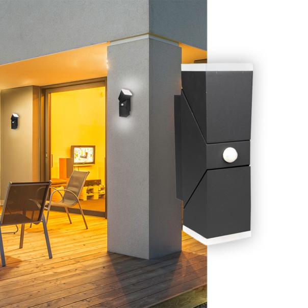 moderne Außenleuchte für die Wandmontage mit oder ohne Bewegungsmelder