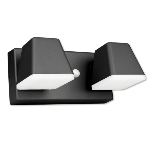 moderne Wandleuchte für den Außenbereich mit zweiflammigen Lichtaustritt